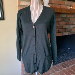 Valentino Hunter Green Lace Cardigan Wool Silk M
